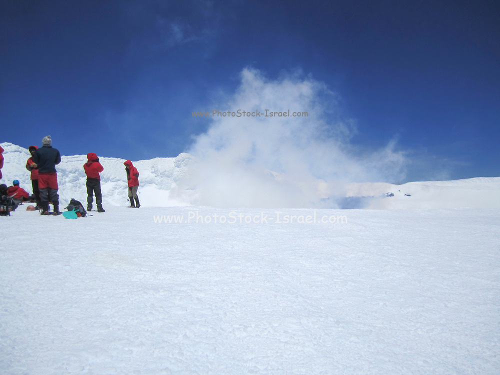 Hikers at the summit of Volcano Villarrica, Pucon, Chile