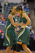 April 4, 2016; Indianapolis, Ind.; Kiki Robertson checks on Adriana Dent after a play in the NCAA Division II Women's Basketball National Championship game at Bankers Life Fieldhouse between UAA and Lubbock Christian. The Seawolves lost to the Lady Chaps 78-73.