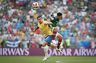 Fagner of Brazil and Hirving Lozano of Mexico during the 2018 FIFA World Cup Russia, round of 16 football match between Brazil and Mexico on July 2, 2018 at Samara Arena in Samara, Russia - Photo Thiago Bernardes / FramePhoto / ProSportsImages / DPPI