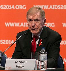 © Licensed to London News Pictures. 20/07/2014. Australian  academic and former Justice of the High Court of Australia Michael Kirby speaks during the official opening press conference of the 20th International AIDS conference held in Melbourne Australia on July 20, 2014.  Photo credit : Asanka Brendon Ratnayake/LNP