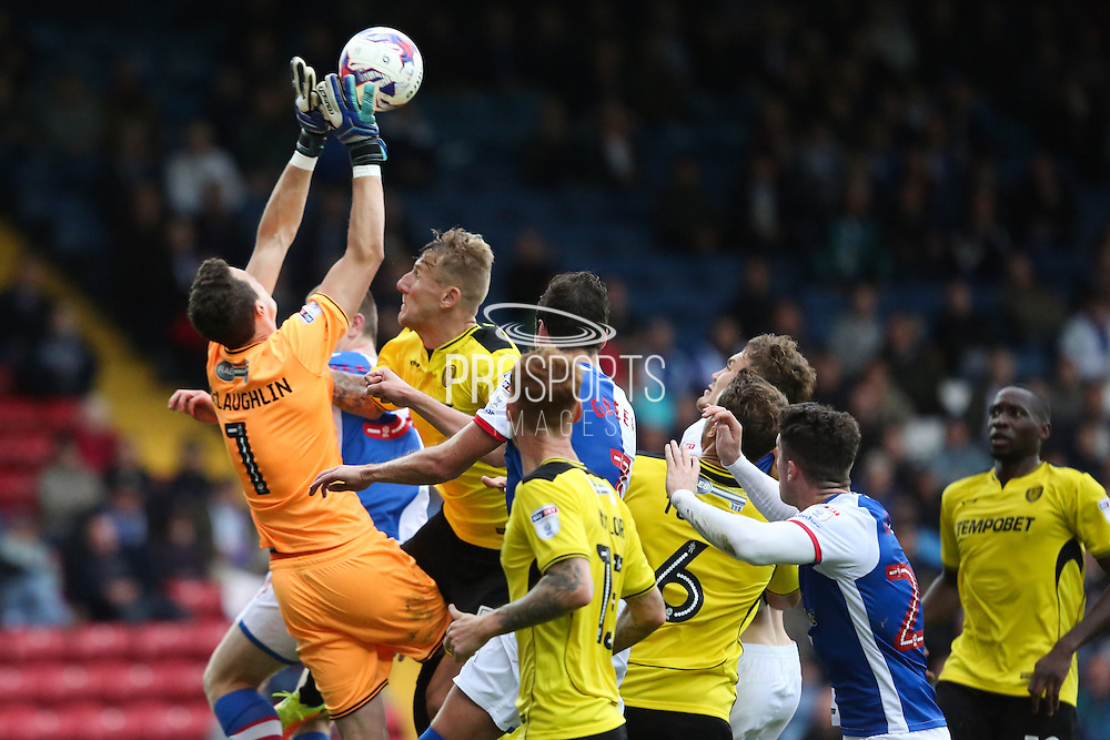 Jon McLaughlin of Burton Albion under pressure whilst he comes to clear a cross during the EFL Sky Bet Championship match between Blackburn Rovers and Burton Albion at Ewood Park, Blackburn, England on 20 August 2016. Photo by Simon Brady.