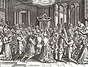 The inhabitants of Leiden meet in the church to give thanks for the relief. The Siege of Leiden occurred during the Eighty Years' War in 1573 and 1574, when the Spanish attempted to capture the rebellious city of Leiden, South Holland, Netherlands, and ultimately failed.