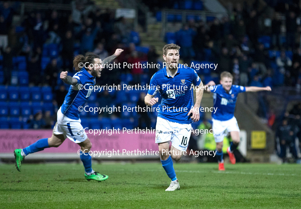 St Johnstone v Kilmarnock…..25.01.20   McDiarmid Park   SPFL<br />David Wotherspoon celebrates his goal with Stevie May and Ali McCann<br />Picture by Graeme Hart.<br />Copyright Perthshire Picture Agency<br />Tel: 01738 623350  Mobile: 07990 594431