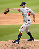 CHICAGO - JUNE 30:  Matt Magill #68 of the Minnesota Twins pitches against the Chicago White Sox on June 30, 2019 at Guaranteed Rate Field in Chicago, Illinois.  (Photo by Ron Vesely)  Subject:  Matt Garner
