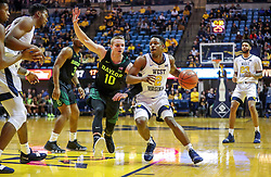 Jan 21, 2019; Morgantown, WV, USA; West Virginia Mountaineers guard Brandon Knapper (2) drives down the lane during the second half against the Baylor Bears at WVU Coliseum. Mandatory Credit: Ben Queen-USA TODAY Sports