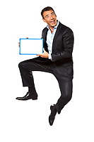 one caucasian business man  jumping holding showing whiteboard in studio isolated on white background