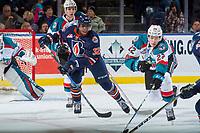 KELOWNA, CANADA - DECEMBER 27: Braydyn Chizen #22 of the Kelowna Rockets stick checks and blocks the pass to Jermaine Loewen #32 of the Kamloops Blazers on December 27, 2017 at Prospera Place in Kelowna, British Columbia, Canada.  (Photo by Marissa Baecker/Shoot the Breeze)  *** Local Caption ***
