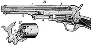 Sectional view of Colt revolver with, at E, the cylinder and revolving mechanism. From Edward H Knight 'The Practical Dictionary of Mechanics', New York and London c1878.