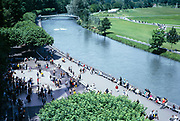 Riverside gardens and paths on the River Ousse, Lourdes, France 1973