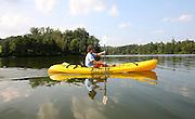 Kayaking on the rivanna river in Charlottesville, VA.