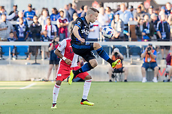 June 13, 2018 - San Jose, CA, U.S. - SAN JOSE, CA - JUNE 13: San Jose Earthquakes Midfielder Tommy Thompson  (22) traps the ball during the MLS game between the New England Revolution and the San Jose Earthquakes on June 13, 2018, at Avaya Stadium in San Jose, CA. The game ended in a 2-2 tie. (Photo by Bob Kupbens/Icon Sportswire) (Credit Image: © Bob Kupbens/Icon SMI via ZUMA Press)