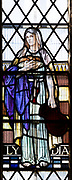 Stained glass window of Lydia, Seend church, Wiltshire, England, UK  1937 Joseph Bell