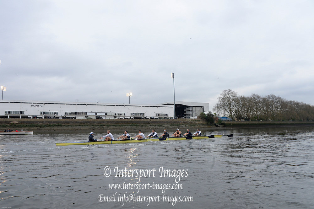 London, United Kingdom.  Friday Morning, Oxford Training session  2014, Varsity, Tideway Week, annual training week, both crews based at Putney, Championship Course,  River Thames;   10:25:08 - Friday  - 04/04/2014  [Mandatory Credit; Peter Spurrier/Intersport Images].<br /> <br /> OUBC. Bow. Storm URU, 2. Tom WATSON, 3. Karl HUDSPITH, 4. Thomas SWARTZ, 5. Malcolm HOWARD, 6. Mike DI SANTO, 7. Sam O'CONNOR, Stroke. Constantine LOULOUDIS and Cox Laurence HARVEY.