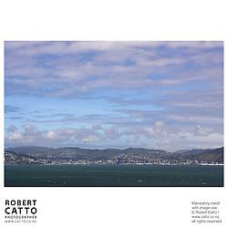 Wellington city's shoreline and skyline seen from Somes Island, Wellington, New Zealand.<br />