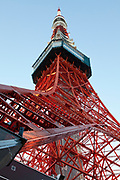 upwards view of Tokyo tower