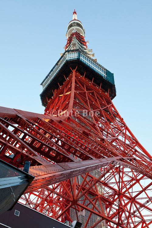 upwards view of Tokyo tower