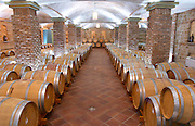 Oak barrel aging and fermentation cellar. Wine Art Estate Winery, Microchori, Drama, Macedonia, Greece