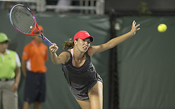 March 26, 2018 - Miami, FL, United States - KEY BISCAYNE, FL - March, 26: Danielle Collins (USA) in action here, defeats Monica Puig (PUR) 36 6462 the 2018 Miami Open on March 24, 2018, at the Tennis Center at Crandon Park in Key Biscayne, FL.  Credit: Andrew Patron/Zuma Wire (Credit Image: © Andrew Patron via ZUMA Wire)
