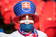 Slovakia fan during the FIFA World Cup Qualifier match between England and Slovakia at Wembley Stadium, London, England on 4 September 2017. Photo by Sebastian Frej.