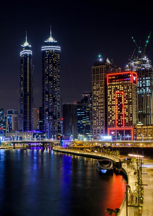 UNITED ARAB EMIRATES, DUBAI - CIRCA JANUARY 2017: The Dubai water canal at night with view of Downtown Dubai