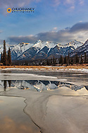 Mount William Booth reflects in pool from the North Saskatchewan River near Nordegg, Alberta, Canada