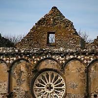 UK, Wales, St. Davids. St. Davids Bishops Palace Wheel Window.