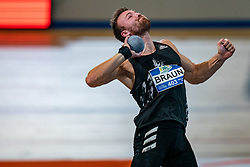 Pieter Braun in action on the shot put during AA Drink Dutch Athletics Championship Indoor on 21 February 2021 in Apeldoorn.