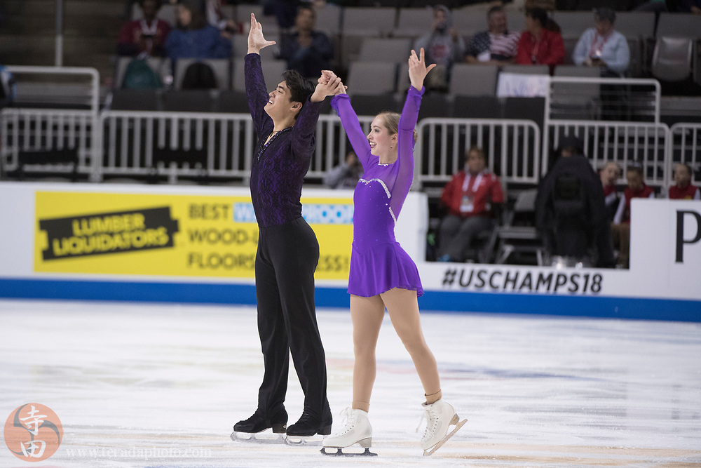 January 4, 2018; San Jose, CA, USA; Winter Deardorff and Max Settlage perform in the pairs short program during the 2018 U.S. Figure Skating Championships at SAP Center.