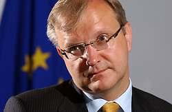 Olli Rehn, the EU's commissioner of enlargement, speaks during an interview on May 30, 2005 in Brussels, Belgium. Commissioner Rehn became the EU's commissioner for economic and monetary affairs in 2010. (Photo © Jock Fistick)