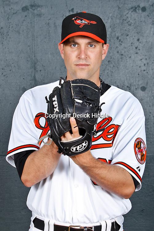 February 26, 2011; Sarasota, FL, USA; Baltimore Orioles starting pitcher Brad Bergesen (35) poses during photo day at Ed Smith Stadium.  Mandatory Credit: Derick E. Hingle