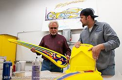 Arlen Ness in the shop reviewing finish on the Top Banana skins with Chuck Beter. Dublin, CA. 2004. Photograph ©2004 Michael Lichter