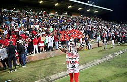 17032018 (Durban) soccer loving Golden Arrows and Orlando Pirates fans sing and dance at the stadium when Orlando Pirates walloped Golden Arrows 2-1 at the ABSA premier league encounter at Princess Magogo Staduim; in Kwa-Mashu; Durban. Pirates has advance their league position to number 2 with 41 points after Sundowns with 42 points lead.<br /> Picture: Motshwari Mofokeng/African New Agency/ANA