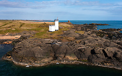 Aerial view of lighthouse at Elie on the East Neuk of Fife, in Scotland, UK