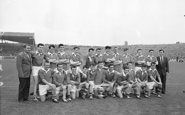 Kerry Minor team winners with the cup after defeating Mayo in the All Ireland Minor Gaelic Football Final Kerry v Mayo in Croke Park on the 23rd September 1962. Referee: E. Moules (Wicklow) Attendance: 75,771.