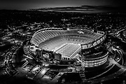 SHOT 9/2/20 8:03:59 PM - Aerial drone imagery and video of Empower Field at Mile High Stadium in Denver, Colorado. The stadium is nicknamed Mile High due to the city's elevation of 5,280 feet. The primary tenant is the Denver Broncos of the National Football League (NFL). It opened in 2001 to replace the Broncos original home, the old Mile High Stadium. Empower Field carries on the tradition of the old Mile High Stadium as being one of the most difficult stadiums to play in for opposing teams. (Photo by Marc Piscotty / © 2020)