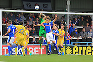 GOAL Ryan Clarke Own Goal - Rochdale equaliser during the EFL Sky Bet League 1 match between Rochdale and AFC Wimbledon at Spotland, Rochdale, England on 27 August 2016. Photo by Daniel Youngs.