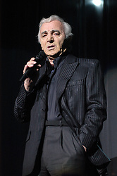 French singer Charles Aznavour performs live onstage at the Nikaia hall in Nice, France, on December 4, 2004. Photo by Jean Pierre Amet/ABACA.