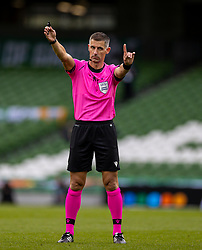 DUBLIN, REPUBLIC OF IRELAND - Sunday, October 11, 2020: Referee Tasos Sidiropoulos during the UEFA Nations League Group Stage League B Group 4 match between Republic of Ireland and Wales at the Aviva Stadium. The game ended in a 0-0 draw. (Pic by David Rawcliffe/Propaganda)