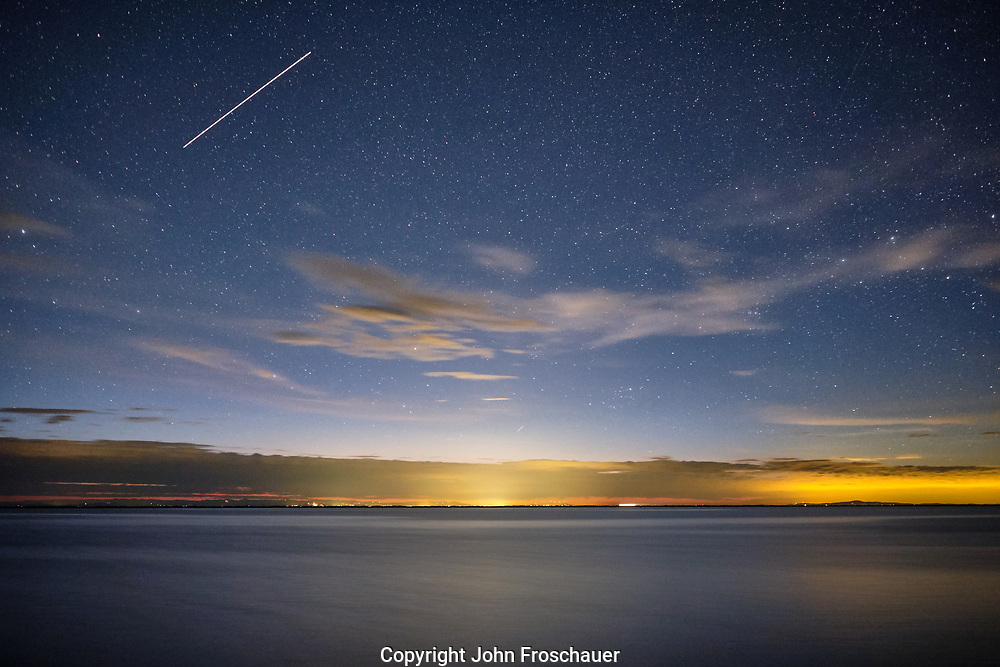 Stars and the International Space Station leaving a trail of light in a long exposure photo in the Dungeness are of Sequim, WA Sunday, May 26, 2019. (Photo/John Froschauer)