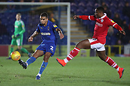 AFC Wimbledon defender Tennai Watson (2) clearing the ball during the EFL Sky Bet League 1 match between AFC Wimbledon and Barnsley at the Cherry Red Records Stadium, Kingston, England on 19 January 2019.