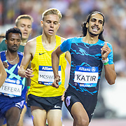 BRUSSELS, BELGIUM:  September 3:   Stewart McSweyn of Australia in action during his victory in the 1500m for men as Oliver Hoare of Australia and Mohamed Katir of Spain share the lead coming into the final lap during the Wanda Diamond League 2021 Memorial Van Damme Athletics competition at King Baudouin Stadium on September 3, 2021 in  Brussels, Belgium. (Photo by Tim Clayton/Corbis via Getty Images)