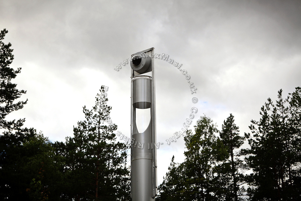 A CCTV camera is photographed in the yard of the luxurious Halden Fengsel, (prison) near Oslo, Norway.