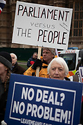 Leave means leave pro Brexit anti Europe demonstrators protest in Westminster opposite Parliament on the day MPs vote on EU withdrawal deal amendments on 29th January 2019 in London, England, United Kingdom.