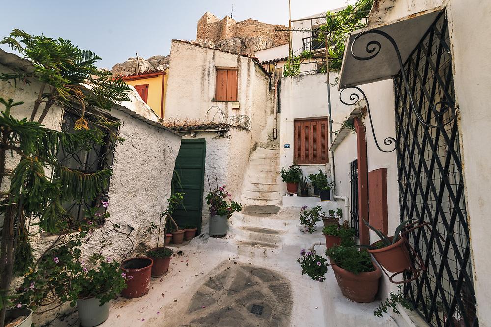 Anafiotika neighborhood in Athens under Acropolis hill. Part of the old historical neighborhood called Plaka, Greece
