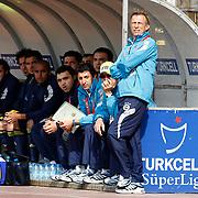 Fenerbahce's coach Christoph DAUM (R) during their Turkish superleague soccer match Kasimpasaspor between Fenerbahce at the Recep Tayyip Erdogan stadium in Istanbul Turkey on Sunday 25 April 2010. Photo by Aykut AKICI/TURKPIX