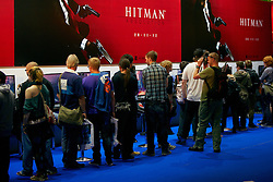 © Licensed to London News Pictures.  27/09/2012. LONDON, UK. Visitors queue to play the unreleased Hitman Absolution computer game at the Eurogamer Expo in Earls Court London. The show opened today (Thursday) and 50,000 people are expected to attend over the next 4 days. Photo credit :  Cliff Hide/LNP