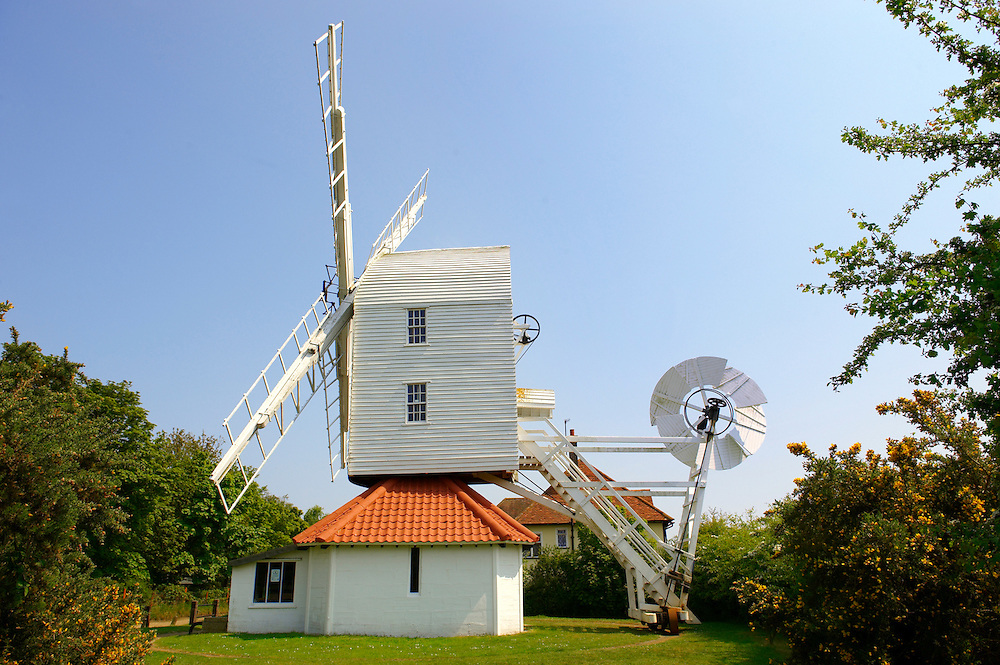 Wooden windmill at Thorpeness village - Suffolk - England .<br /> <br /> Visit our ENGLAND PHOTO COLLECTIONS for more photos to download or buy as wall art prints https://funkystock.photoshelter.com/gallery-collection/Pictures-Images-of-England-Photos-of-English-Historic-Landmark-Sites/C0000SnAAiGINuEQ
