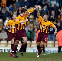 Photo: Jed Wee.<br />Bradford City v Bristol City. Coca Cola League 1. 18/02/2006.<br />Bradford's Danny Cadamarteri (R) celebrates with goalscorer David Wetherall.