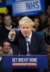© Licensed to London News Pictures. 11/12/2019. London, UK. Prime Minister Boris Johnson speaks at his final election rally in the Copper Box Arena at the Queen Elizabeth Olympic Park. Supporters and party workers have gathered to hear The Prime Minister speak on the last day of campaigning. Voting in the general election will start at 7am tomorrow. Photo credit: Peter Macdiarmid/LNP