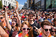 A crowded Brighton high street during the Brighton Pride Parade on 6th August 2016 in Brighton in the United Kingdom.